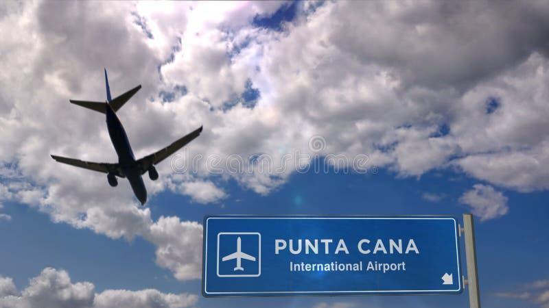 Atterrissage aérien à Punta Cana avec panneau illustration libre de droits