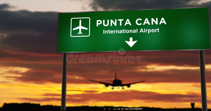 Atterrissage aérien à Punta Cana avec panneau illustration stock