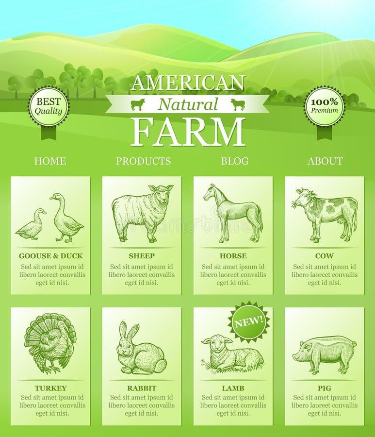 Atterrissage américain de ferme pour le site Web avec le paysage lumineux, silhouettes d'animaux de ferme illustration libre de droits