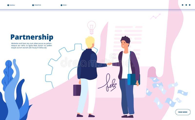Atterrissage d'association Associés de démarrage numériques d'homme d'affaires de relations de leader de la communauté d'associat illustration stock