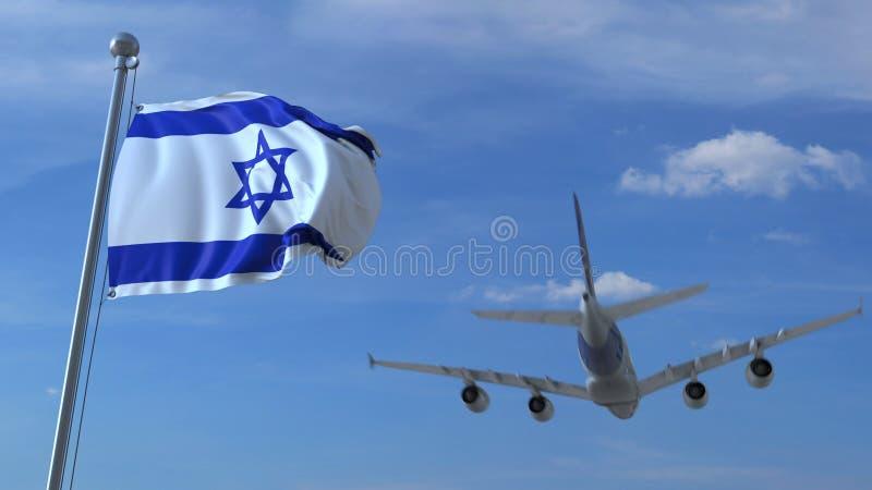 Atterrissage d'avion commercial derrière onduler le drapeau israélien Voyage au rendu 3D conceptuel de l'Israël illustration libre de droits