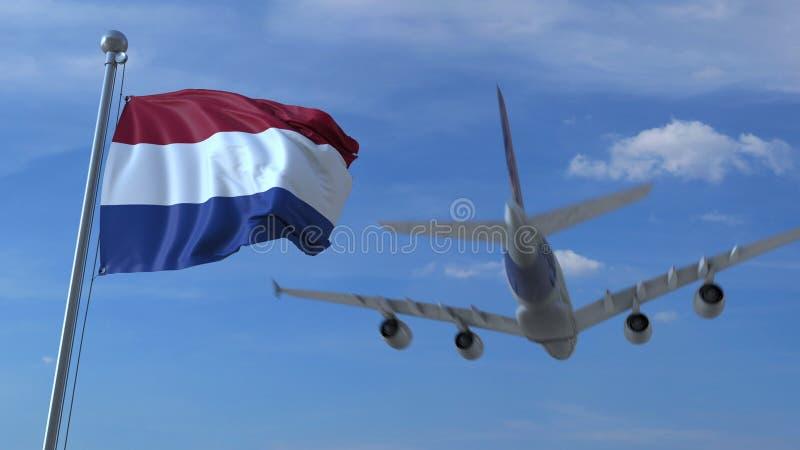 Atterrissage d'avion commercial derrière onduler le drapeau néerlandais Voyage au rendu 3D conceptuel néerlandais illustration stock
