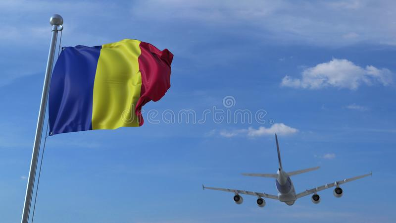 Atterrissage d'avion commercial derrière onduler le drapeau roumain Voyage au rendu 3D conceptuel de la Roumanie illustration libre de droits