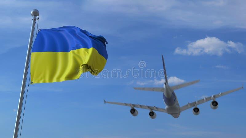 Atterrissage d'avion commercial derrière onduler le drapeau ukrainien Voyage au rendu 3D conceptuel de l'Ukraine illustration libre de droits