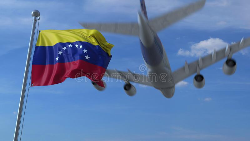 Atterrissage d'avion commercial derrière onduler le drapeau vénézuélien Voyage au rendu 3D conceptuel du Venezuela illustration libre de droits