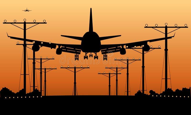 Atterrissage d'avion de ligne au coucher du soleil illustration de vecteur