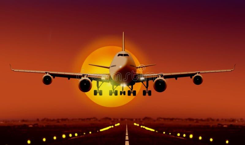Atterrissage d'avion pendant le coucher du soleil illustration de vecteur