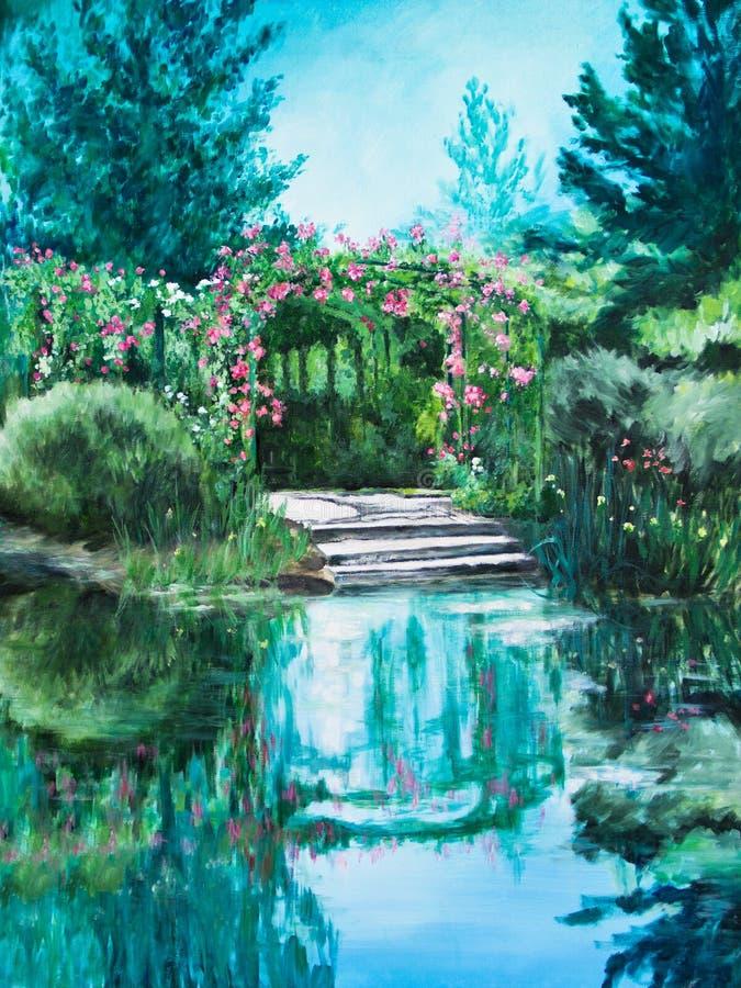 Atterrissage de bateau à l'eau Lily Pond de Giverny illustration stock
