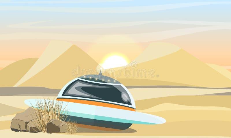Atterrissage de soucoupe volante dans le désert L'effondrement du vaisseau spatial sur terre illustration libre de droits