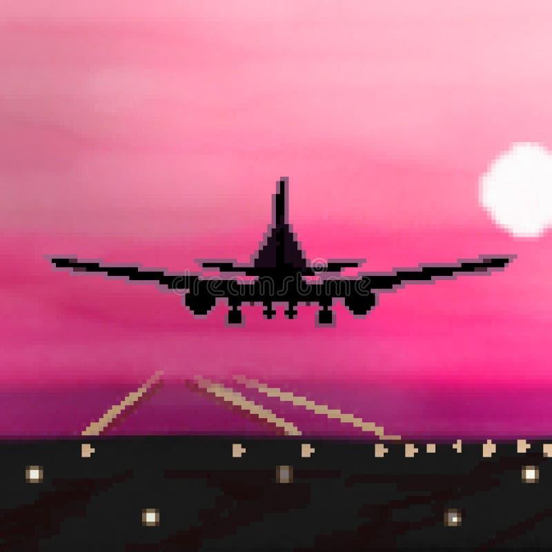 Atterrissage plat tiré de bit du pixel 8 pendant le vol de lever de soleil illustration libre de droits
