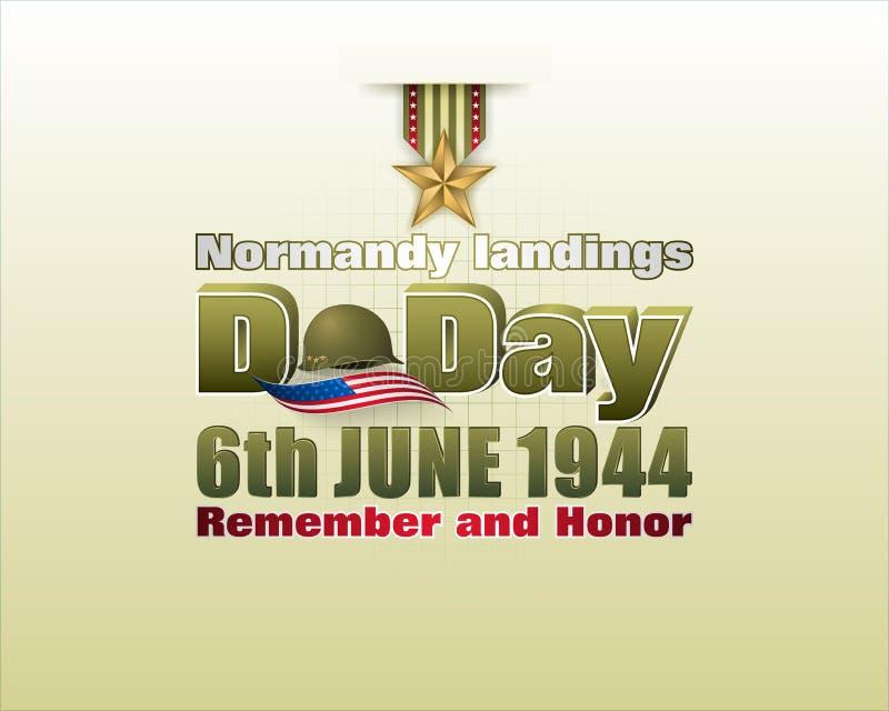 Atterrissages de la Normandie, jour J américain, célébration illustration de vecteur