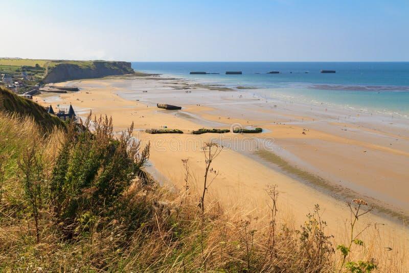 Atterrissages de la Normandie, restes de port artificiel images libres de droits