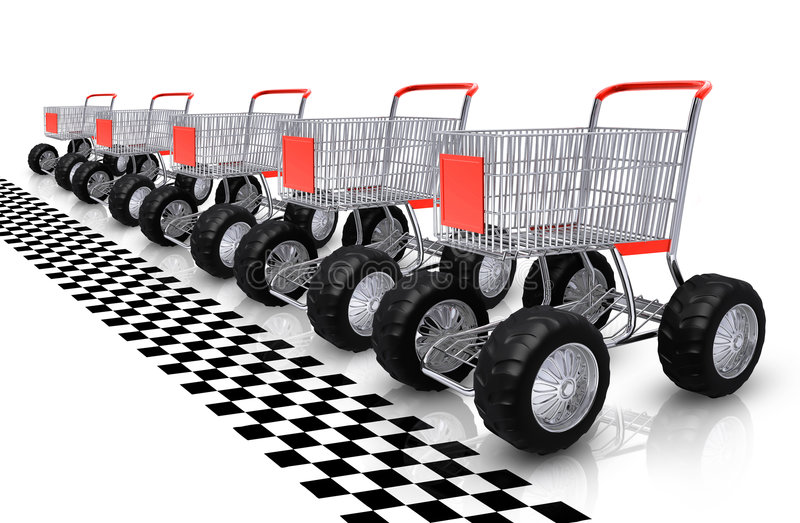 Attesa di riga dei carrelli di acquisto illustrazione vettoriale