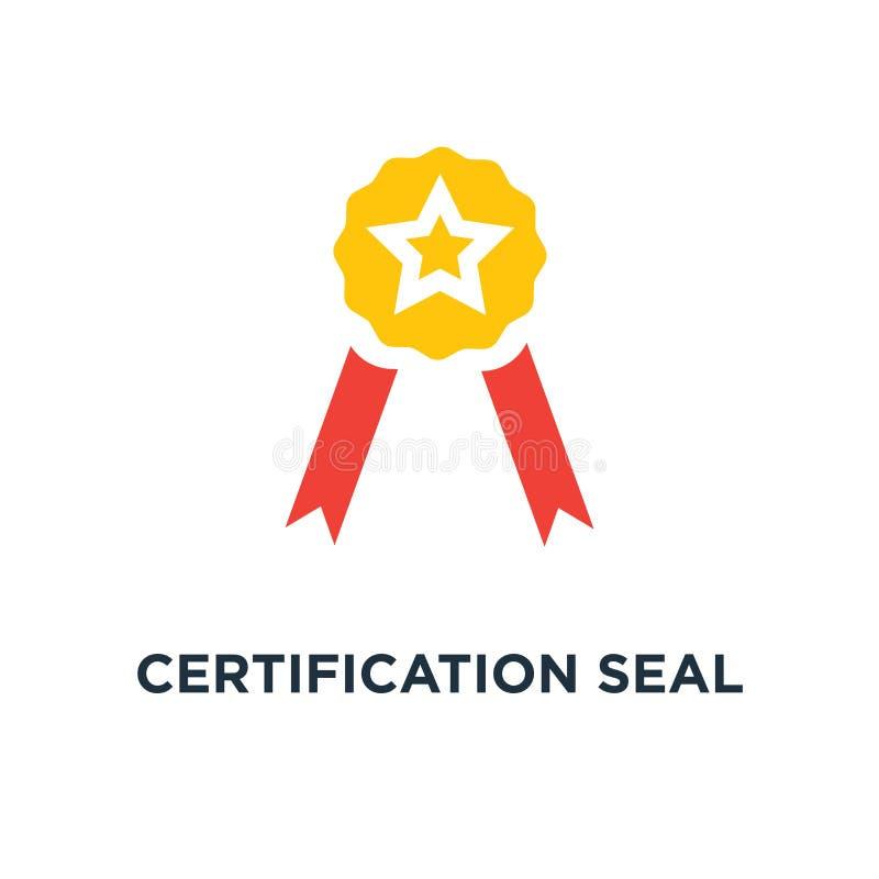 attesteringsskyddsremsasymbol utmärkelseemblem, certifikatbegreppssymbol stock illustrationer