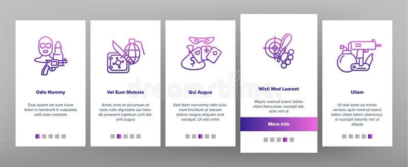 Atti penali, schermo della pagina del App di Vector Onboarding Mobile del bandito illustrazione di stock