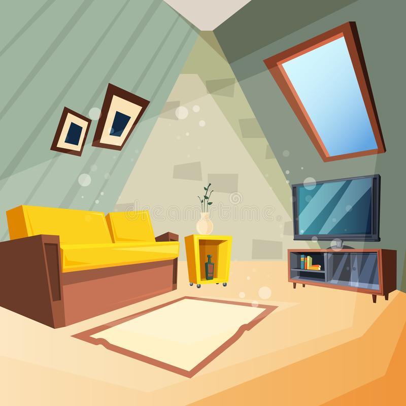 Attic. Bedroom for kids interior of attic room corner with window on ceiling vector picture in cartoon style royalty free illustration
