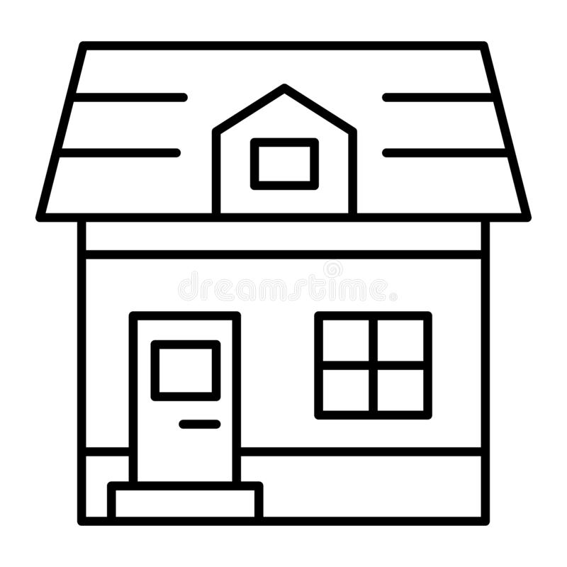 Attic cottage thin line icon. Architecture vector illustration isolated on white. Small house outline style design. Designed for web and app. Eps 10 stock illustration
