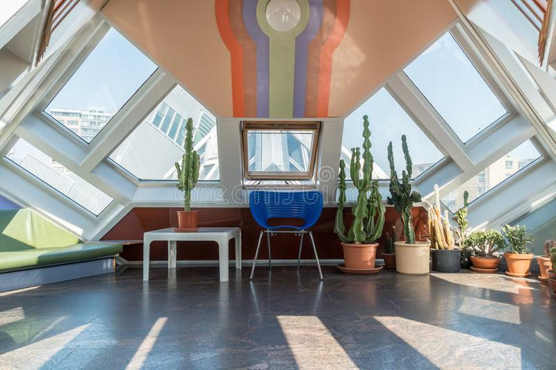 Attic of a cube house in Rotterdam royalty free stock images