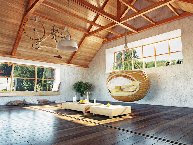 Attic interior vector illustration