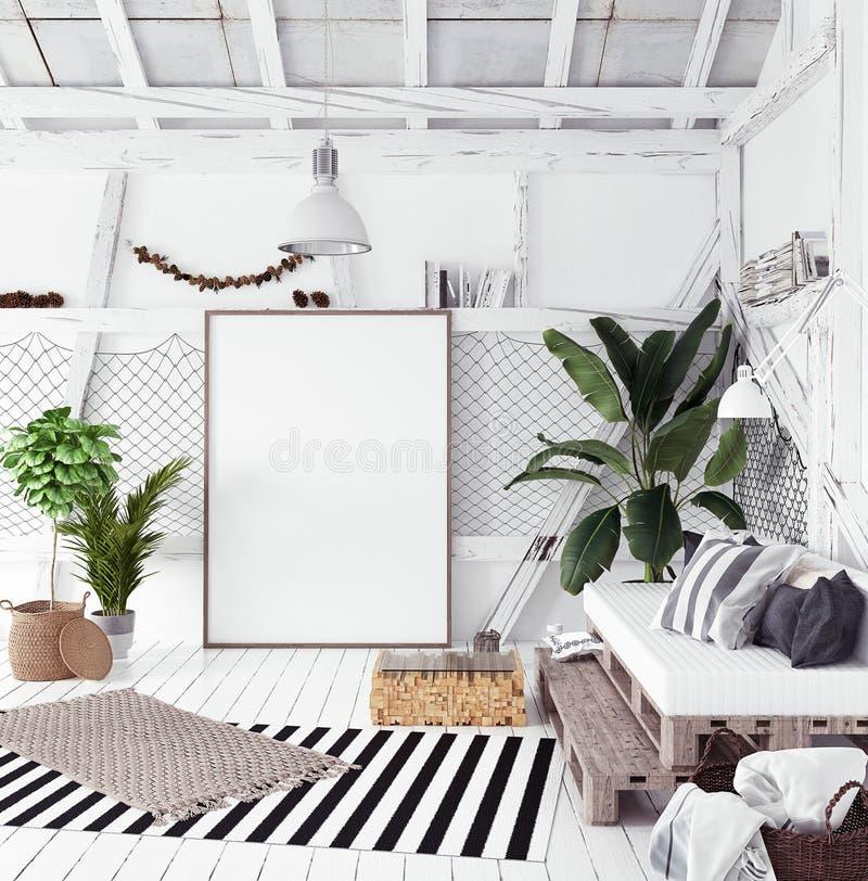 Attic interior design idea with hammock, scandinavian boho style stock image