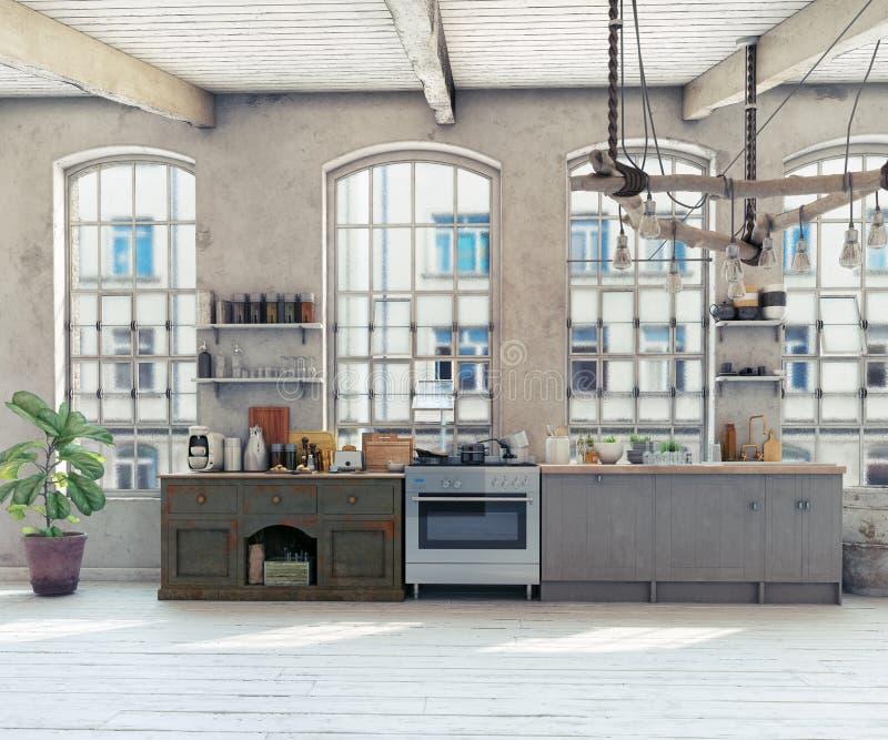 Attic loft kitchen interior. vector illustration