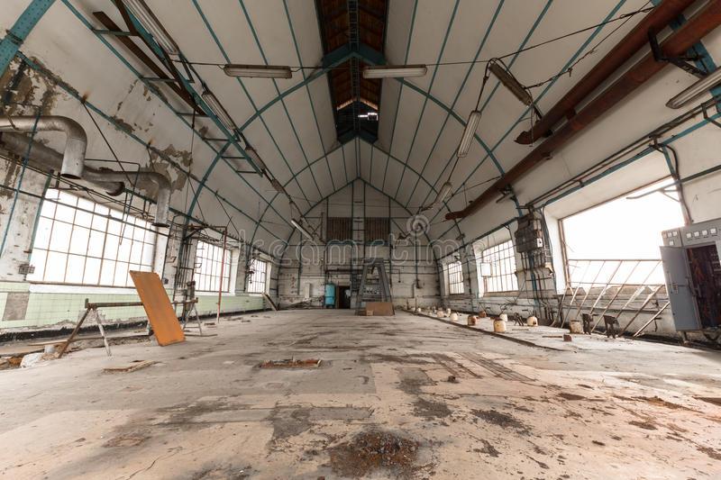 Attic of an old industrial building royalty free stock image