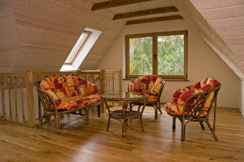 Download Attic room stock image. Image of chairs, wooden, furniture - 7180613