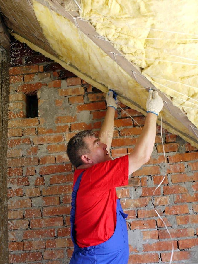 Attic thermal insulation stock photos