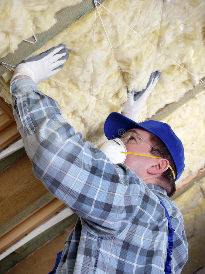 Attic thermal insulation royalty free stock images