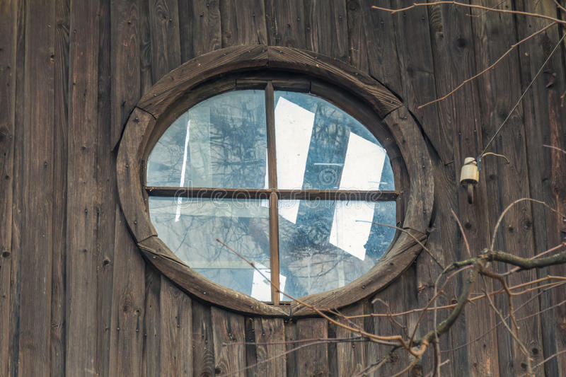 Attic window in a deserted house royalty free stock images