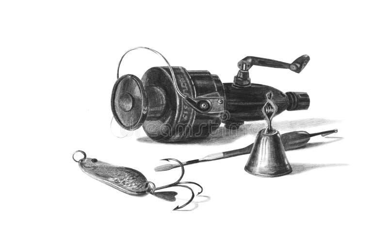 Attirails de pêche admirablement tirés par la main d'isolement sur le blanc photographie stock libre de droits