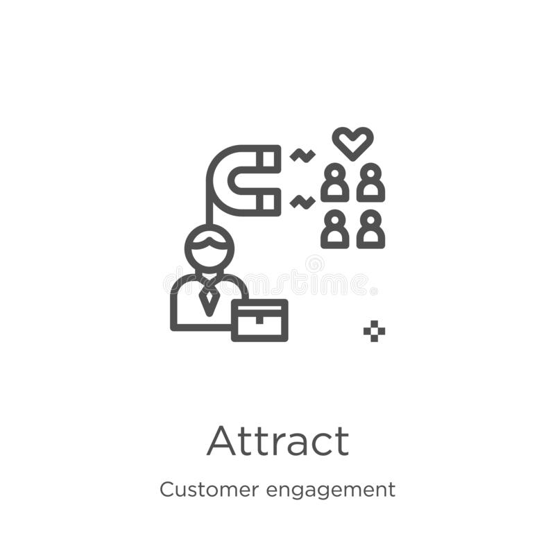 attirez le vecteur d'icône de la collection d'engagement de client La ligne mince attirent l'illustration de vecteur d'icône d'en illustration libre de droits