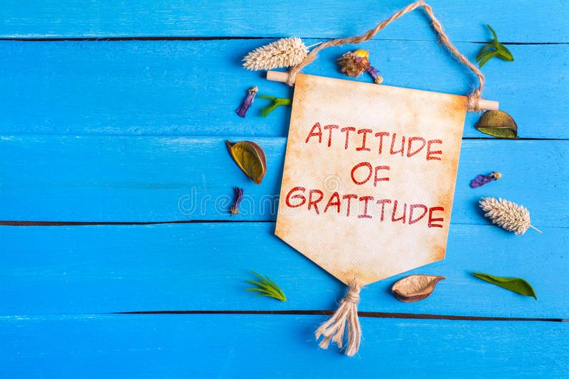 Attitude of gratitude text on Paper Scroll. With dried flower around and blue wooden background royalty free stock photos