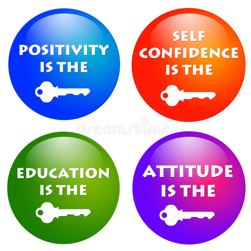 Attitude keys. Keys to positive attitude and success in life royalty free illustration