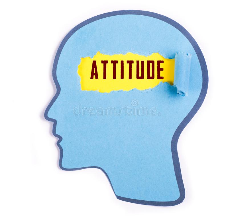 Attitude word in the person head. Torn blue paper and Paper head concept Thoughts inside the brain royalty free stock photos