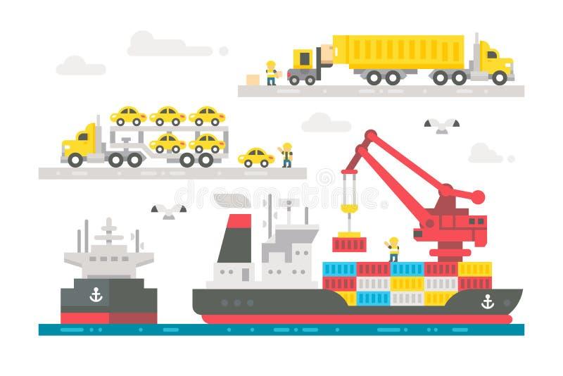 Attivazione piana del porto di commercio di progettazione illustrazione di stock