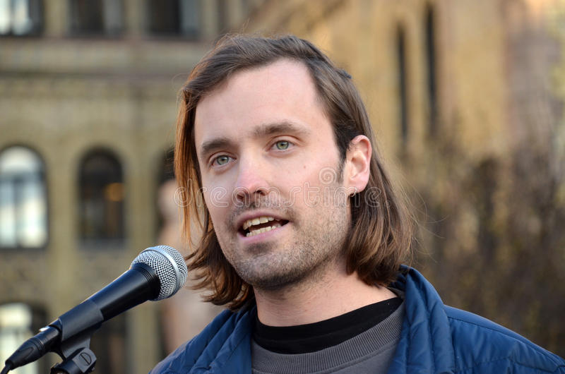 Attivista norvegese Petter Slaatrem Titland (Attac) immagine stock libera da diritti