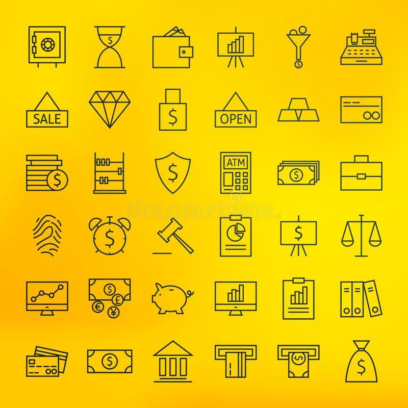 Attività bancarie della Banca ed icone della linea di business di finanza grandi messe illustrazione vettoriale