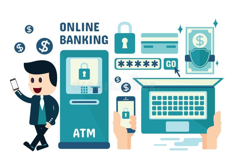 Attività bancarie online Infographics immagini stock libere da diritti