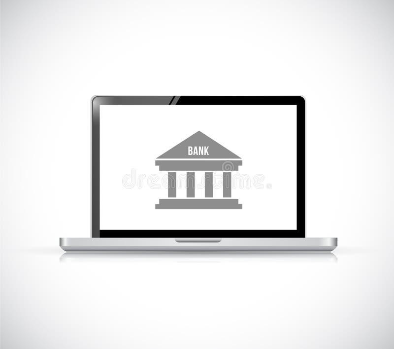 Attività bancarie online su un computer portatile Illustrazione di concetto royalty illustrazione gratis
