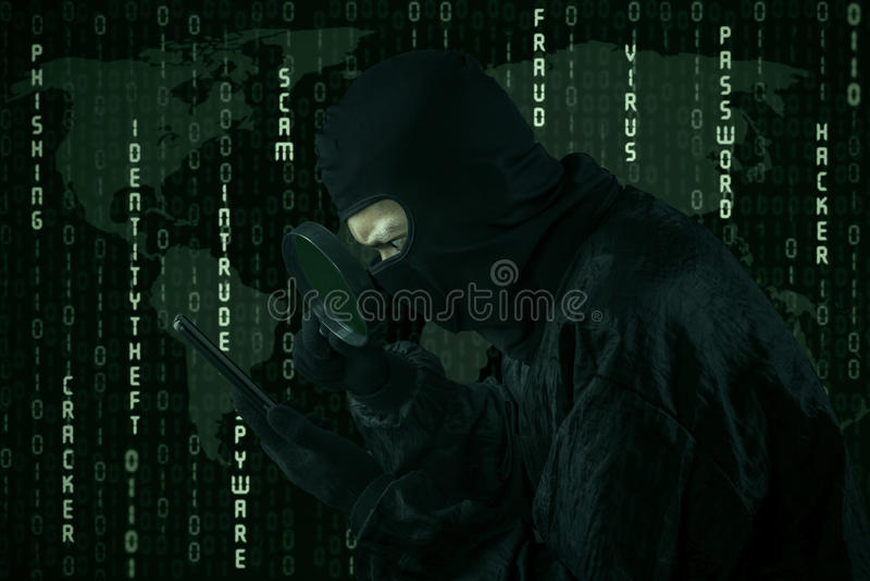 Attività cyber di crimine fotografia stock
