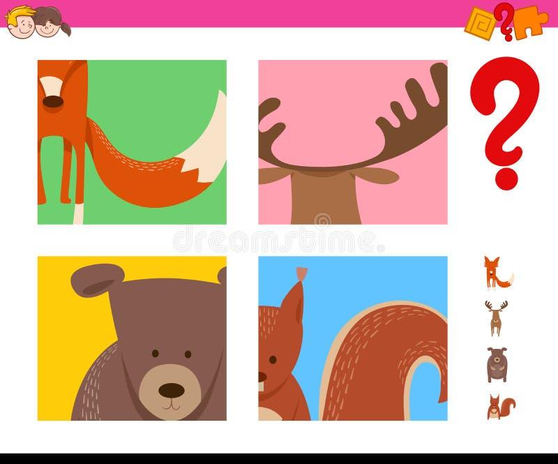 Attività degli animali selvatici di congettura per i bambini illustrazione di stock