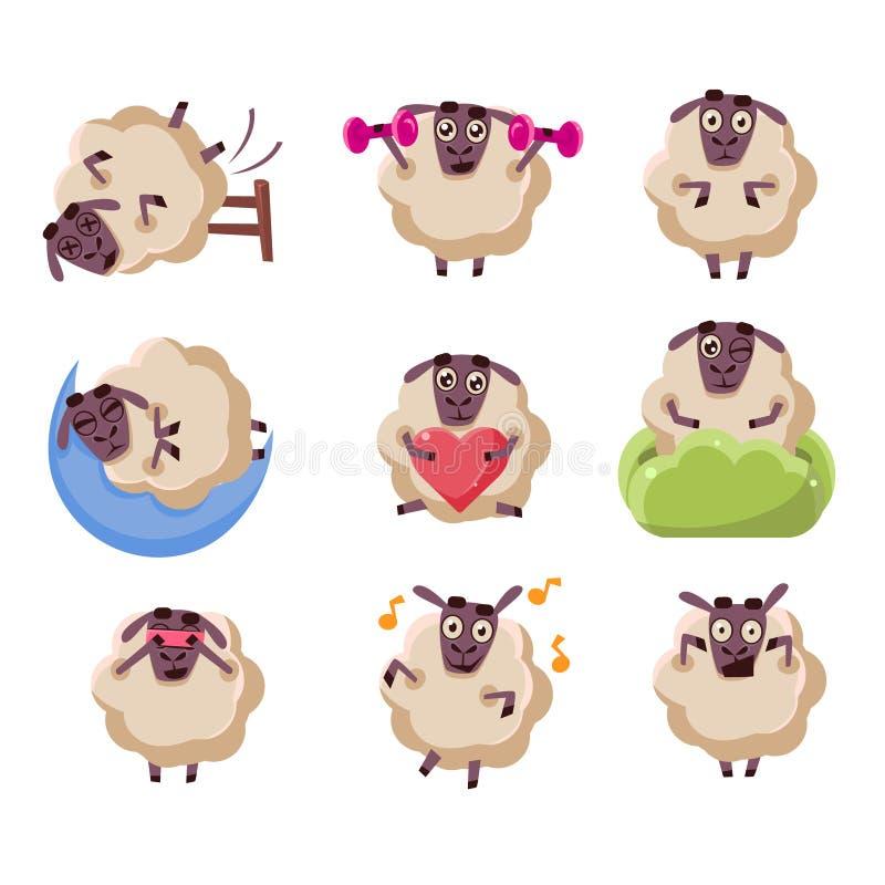 Attività del carattere delle pecore fissate royalty illustrazione gratis