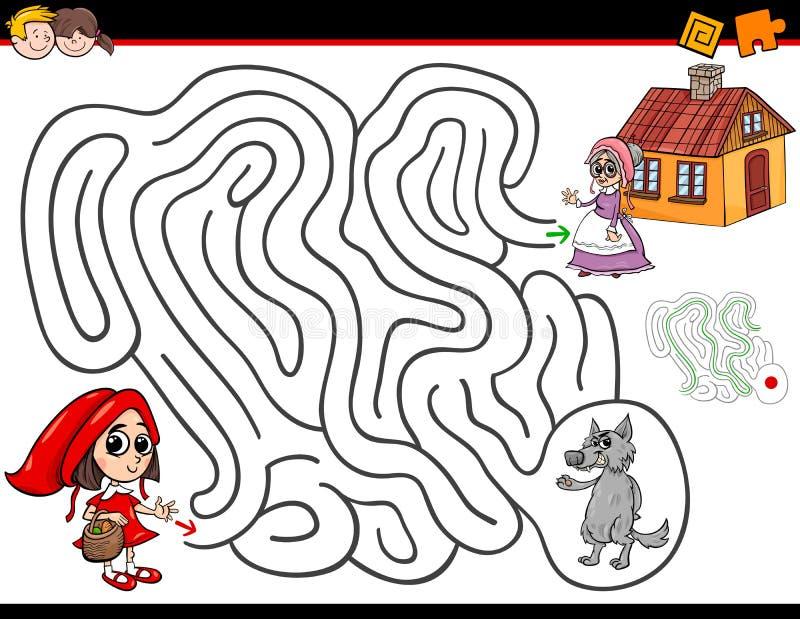 Attività del labirinto del fumetto con poco cappuccio di guida rosso illustrazione di stock