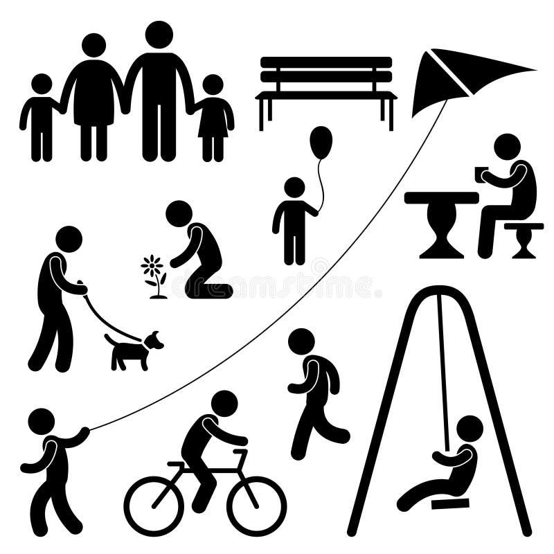 Attività della sosta del giardino della gente dei bambini della famiglia dell'uomo illustrazione di stock