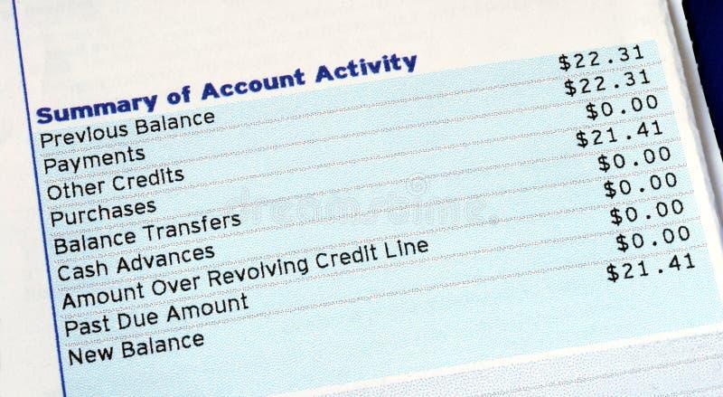 Attività di cliente di una fattura di carta di credito fotografie stock