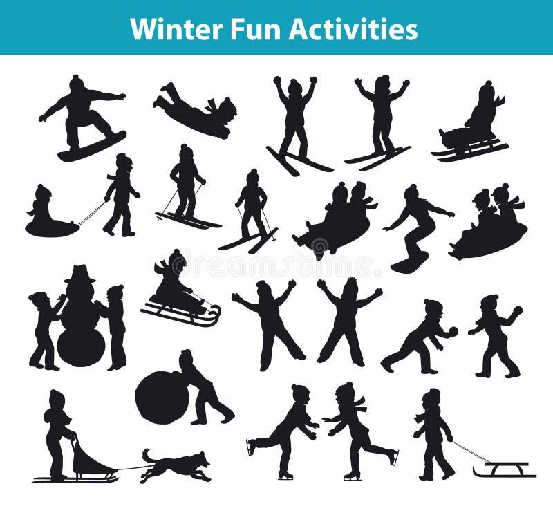 Attività di divertimento di inverno del ` s dei bambini nella raccolta stabilita della siluetta della neve e del ghiaccio illustrazione vettoriale