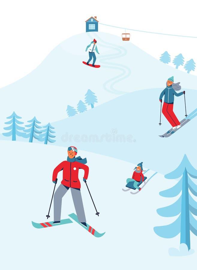 Attività di sport di ricreazione di vacanze invernali Ski Resort Landscape con lo sci e lo snowboard dei caratteri illustrazione di stock