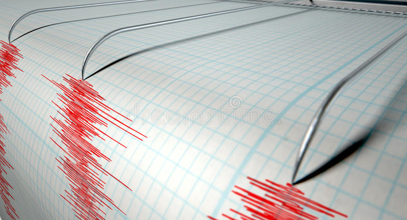 Attività di terremoto del sismografo immagini stock libere da diritti