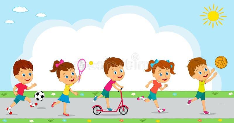 Attività differente di sport delle ragazze e dei ragazzi illustrazione vettoriale